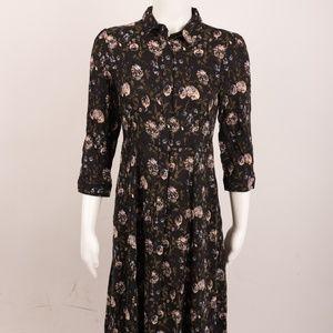 Zara Floral Long Dress Small Button Down